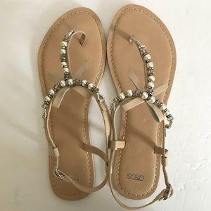 ASOS Nude Jeweled Sandal Size 10